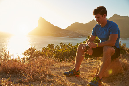jogging: Young man resting after jogging