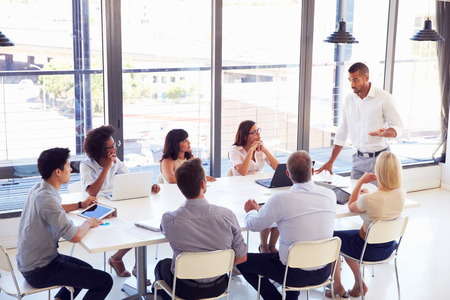 GERENTE: De negocios que presenta a sus colegas en una reunión