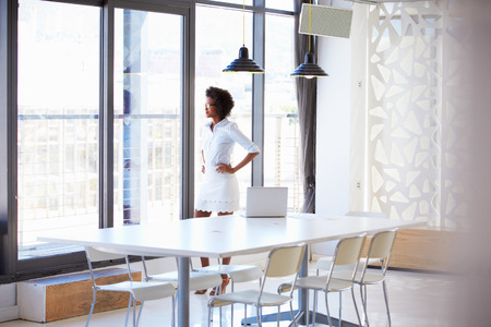 looking through window: Young woman in empty meeting room