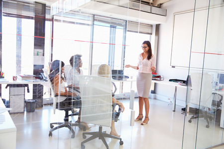 only women: Businesswoman presenting meeting in an office Stock Photo