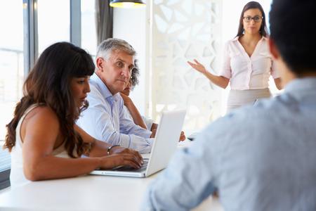 gente sentada: Empresaria que presenta a sus colegas en una reuni�n Foto de archivo