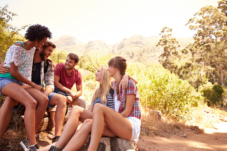 Group Of Friends Resting On Walk Through Countryside photo