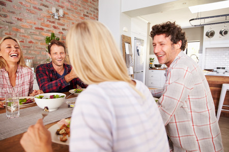 conversation: Friends having a dinner party Stock Photo