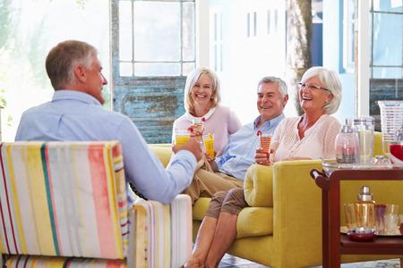 bebidas frias: Grupo de amigos en casa que se relaja en sal�n con bebidas fr�as