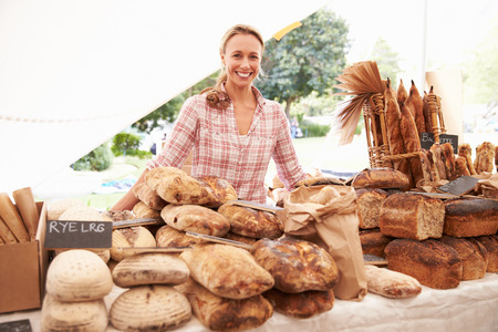 bakery: Female Bakery Stall Holder At Farmers Fresh Food Market