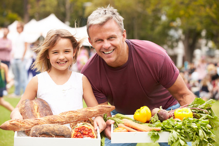 farmers market: Father And Daughter With Produce From Outdoor Farmers Market