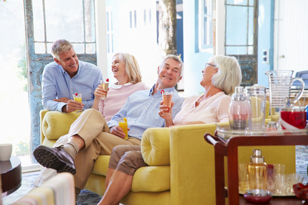 ancianos felices: Grupo de amigos en casa que se relaja en salón con bebidas frías