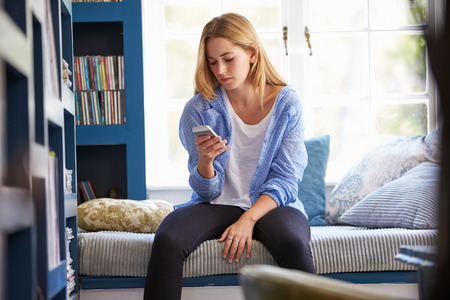 Woman Sitting On Couch At Home Using Mobile Phone Imagens - 41402421