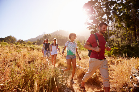hiking trail: Group Of Friends On Walk Through Countryside Together