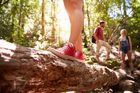 grupo de hombres: Cerca De Pies equilibrio sobre Troncos En El Bosque Foto de archivo
