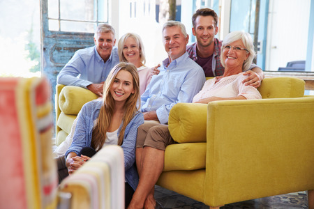 extended family: Extended Family Group At Home Relaxing In Lounge Stock Photo