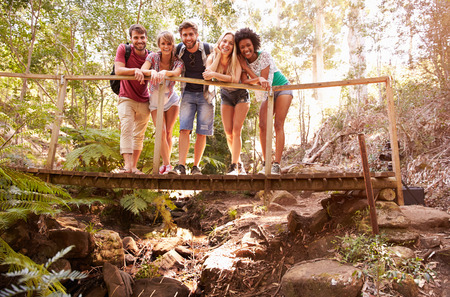 group of friends: Group Of Friends On Walk Crossing Wooden Bridge In Forest Stock Photo