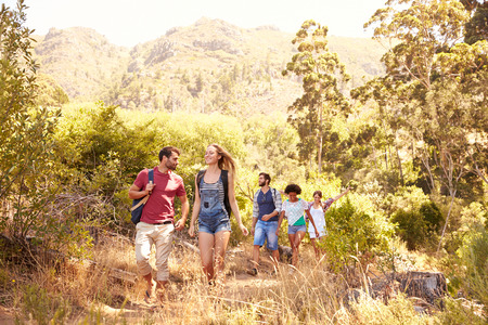 group of friends: Group Of Friends On Walk Through Countryside Together