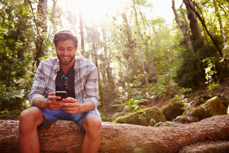 hiking: Man Sits On Tree Trunk In Forest Using Mobile Phone