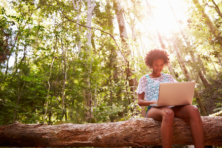 laptop: Woman Sits On Tree Trunk In Forest Using Laptop Computer