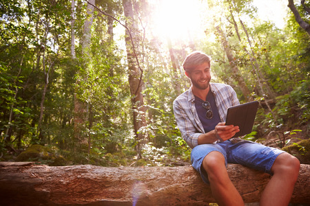 tree  forest: Man Sits On Tree Trunk In Forest Using Digital Tablet Stock Photo