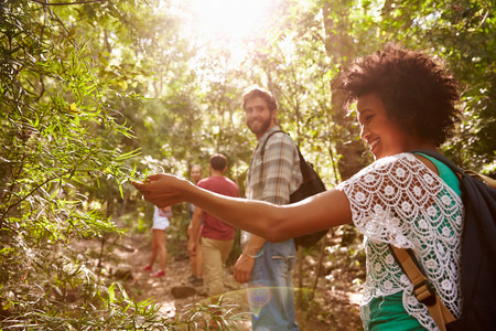 afroamericanas: Mujer Examinar Hojas En La Planta Durante Campo Caminata Foto de archivo