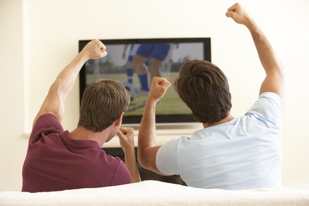 widescreen: Two Men Watching Widescreen TV At Home