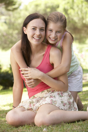 11 year old: Mother And Daughter Relaxing In Countryside