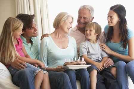 extended family: Extended Family Group Celebrating Birthday