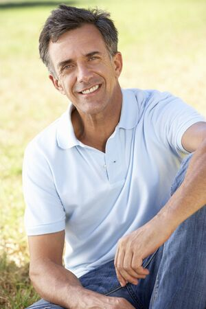 mid fifties: Middle Aged Man Relaxing In Countryside