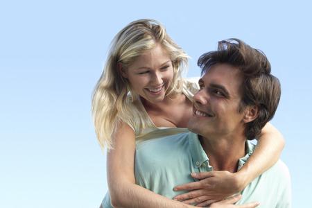 couple having fun: Young Couple Having Fun Outside