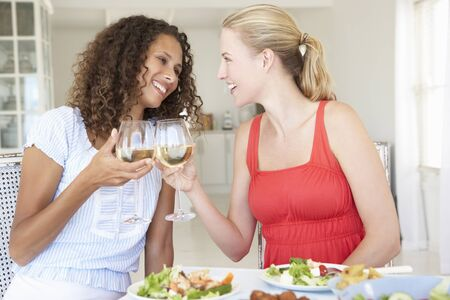 woman cooking: Friends Enjoying Meal Together Stock Photo
