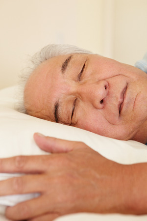 taiwanese: Senior Taiwanese man sleeping