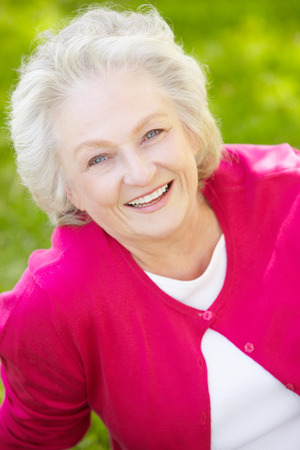 one eyed: Senior woman outdoors
