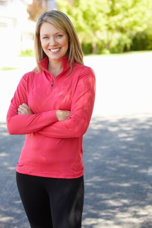 suburban: Fit, active woman outdoors
