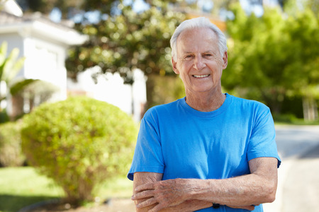 Fit, active, elderly man outdoors Imagens