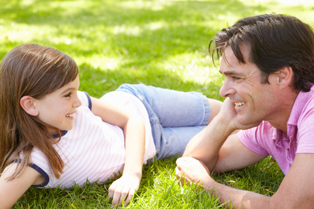 8 year old girl: Father and daughter outdoors Stock Photo