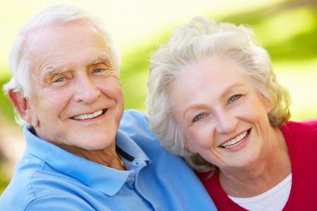 grey eyed: Senior couple outdoors Stock Photo