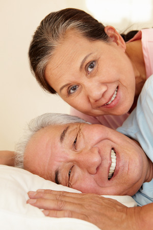 taiwanese: Senior Taiwanese couple resting Stock Photo