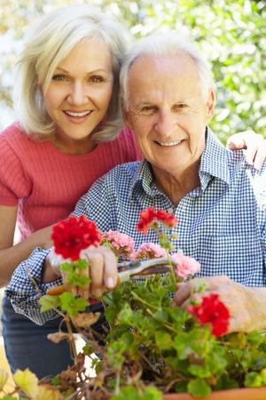 vecchiaia: Metà donna di età e padre in giardino