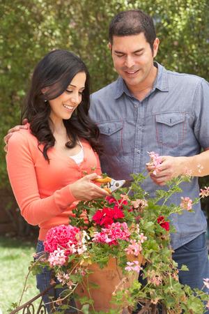 tidying: Hispanic Couple Working In Garden Tidying Pots
