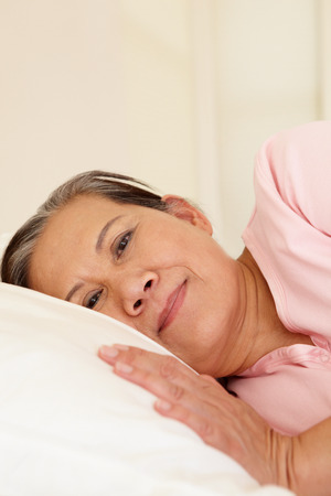 taiwanese: Senior Taiwanese woman resting Stock Photo