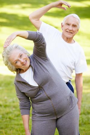 suppleness: Senior couple exercising