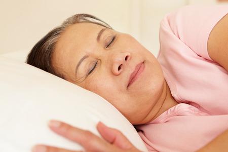 taiwanese: Senior Taiwanese woman sleeping