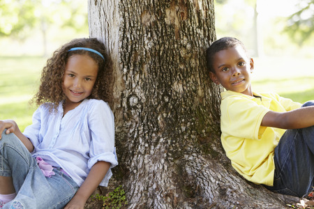 6 year old children: African American Children Playing In Park