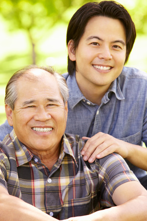 asian family outdoor: Father and adult son outdoors