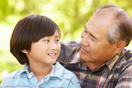 grandad: Boy and grandfather outdoors Stock Photo