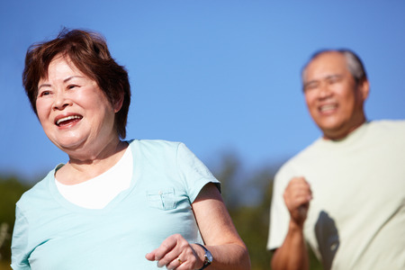 female senior adults: Senior couple jogging