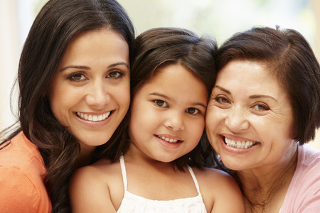 grandmother grandchild: 3 generations Hispanic women