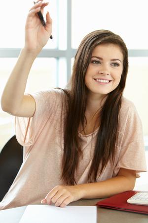 16 year old girls: Teenage girl in class