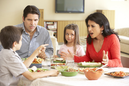 mujeres peleando: Familia joven que disfruta de la comida hispana en el país Foto de archivo