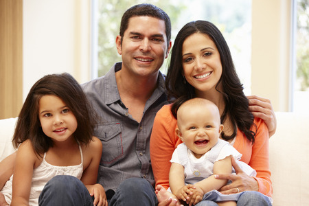 family indoors: Hispanic family at home