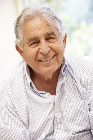 one senior adult man: Senior Hispanic man portrait, Stock Photo