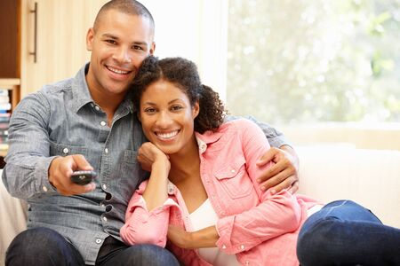 Mixed race couple at home Stock Photo