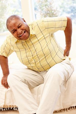 Senior African American man with backache